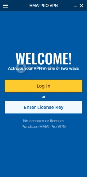 HideMyAss! VPN's login screen