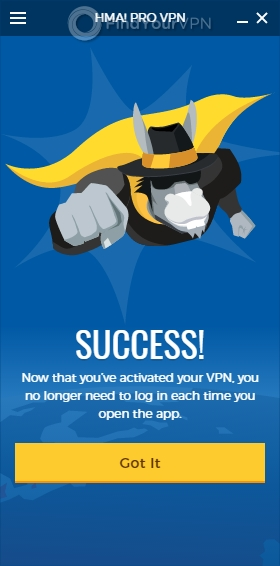 HideMyAss! VPN's Post-login screen