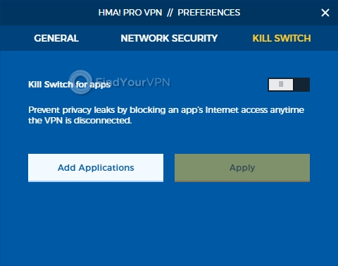 HideMyAss! VPN's kill switch