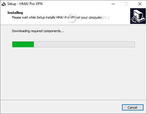 Progress bar for the HideMyAss! VPN setup