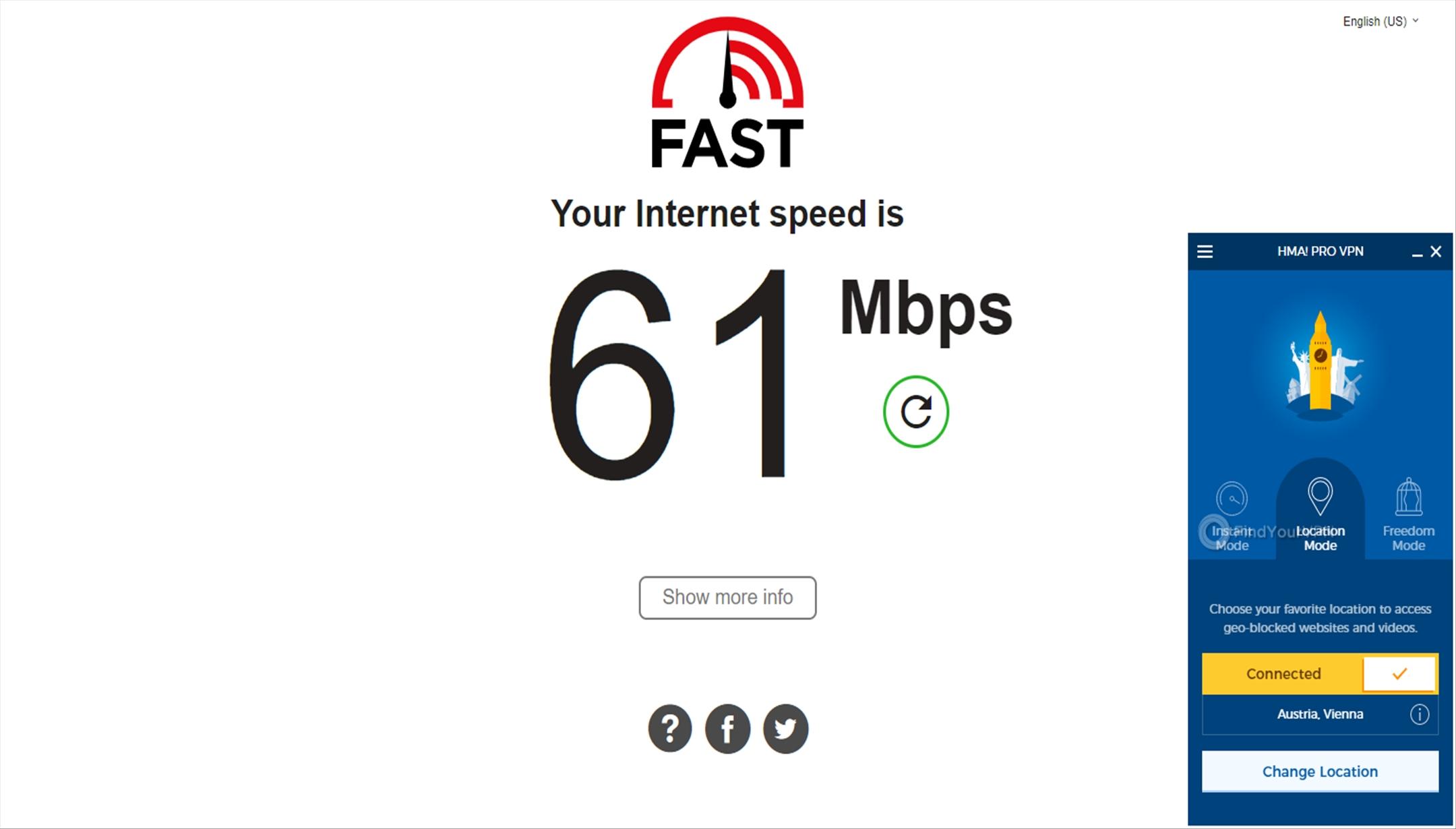 HideMyAss! VPN Speed Test Results Austria 61 Mbps