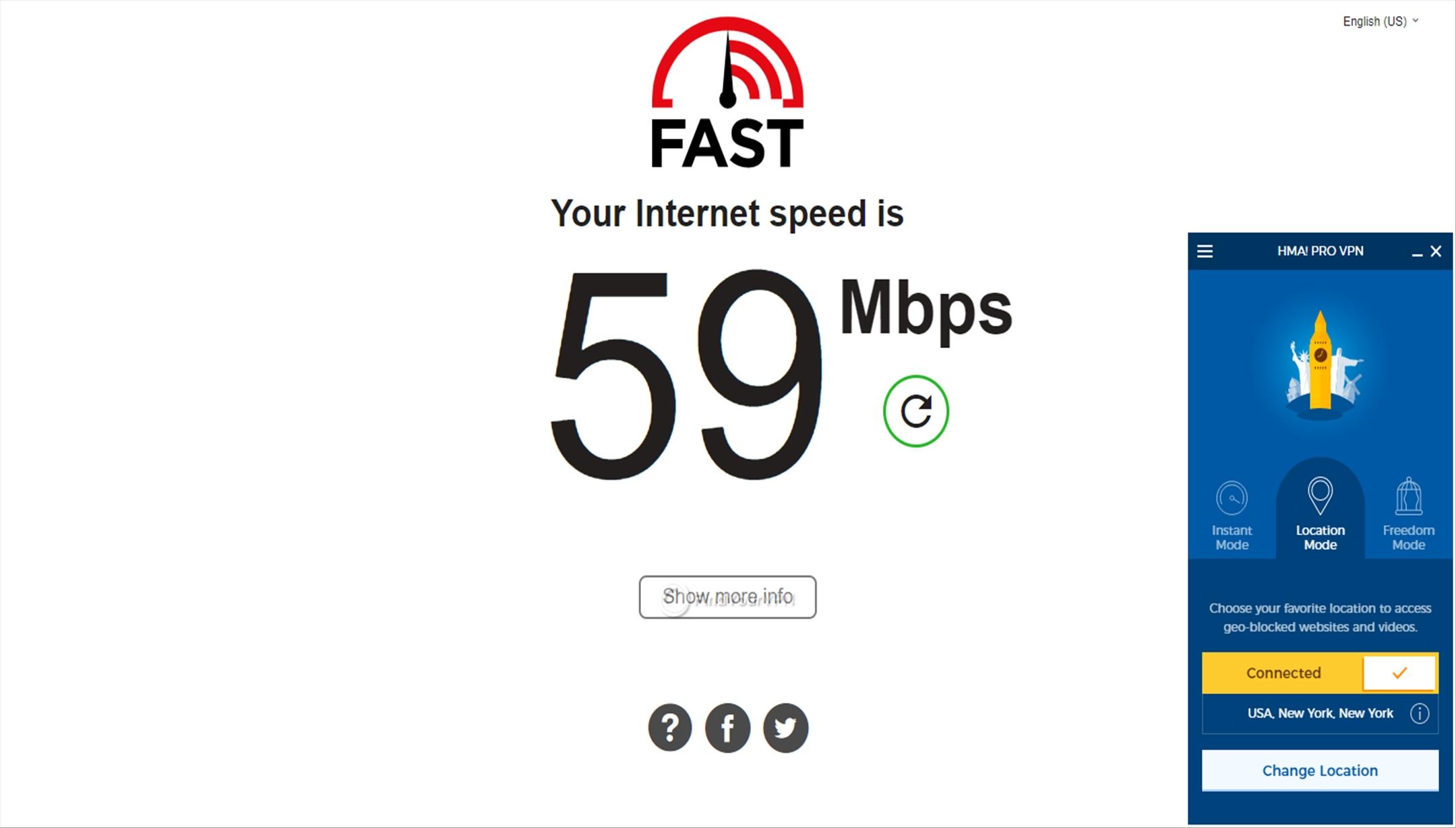 HideMyAss! VPN Speed Test USA 59 Mbps