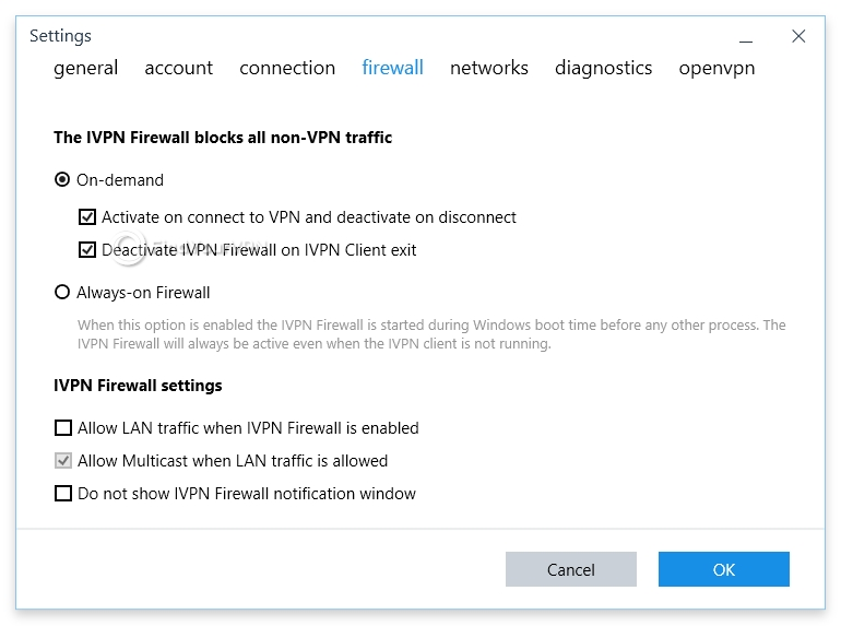 Choose your IVPN firewall's behavior and configure it