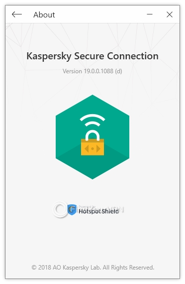 Kaspersky Secure Connection's about section