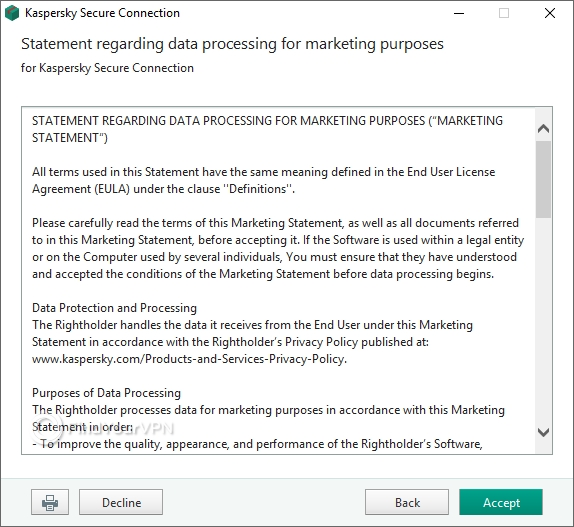 Kaspersky Secure Connection's statement regarding data collection for marketing purposes