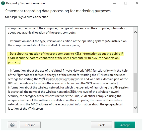 Highlights from Kaspersky Secure Connection's data collection for marketing purposes