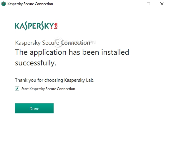 The final screen of Kaspersky Secure Connection's setup process