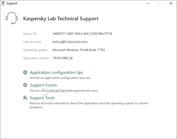 You can see your device ID, user account and app version from the Support section of Kaspersky Secure Connection