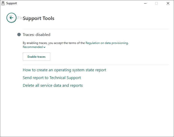 Kaspersky Secure Connection has a few support tools you can use