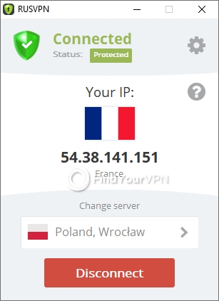 RUSVPN after connecting to the VPN server