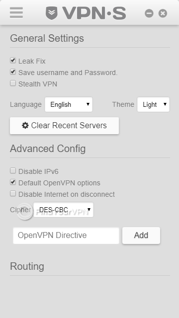 Modify advanced parameters for VPNSecure