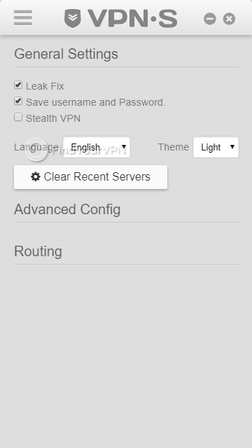 VPNSecure's settings menu