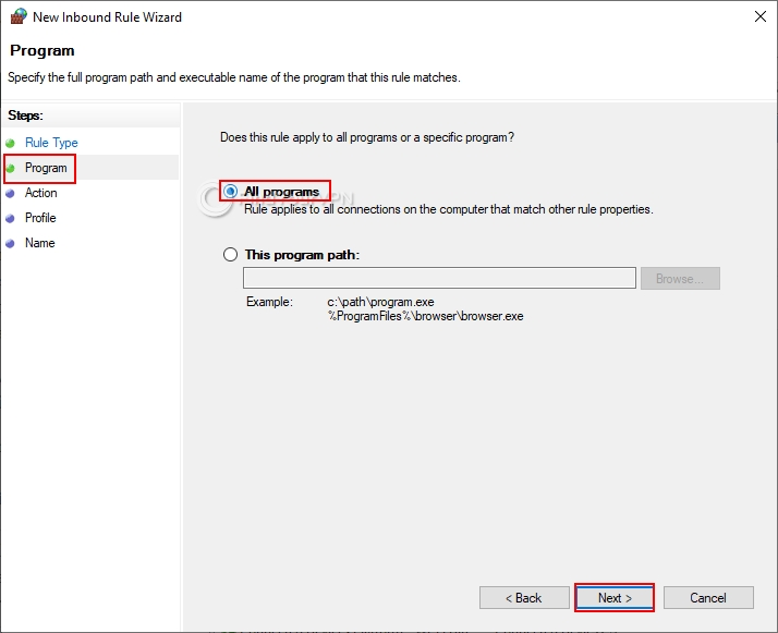 How to block non-VPN traffic in the Windows 10 Firewall (step 3)