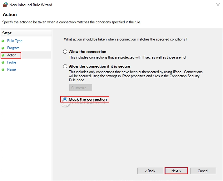 How to block non-VPN traffic in the Windows 10 Firewall (step 4)