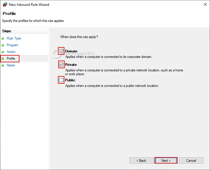 How to block non-VPN traffic in the Windows 10 Firewall (step 5)