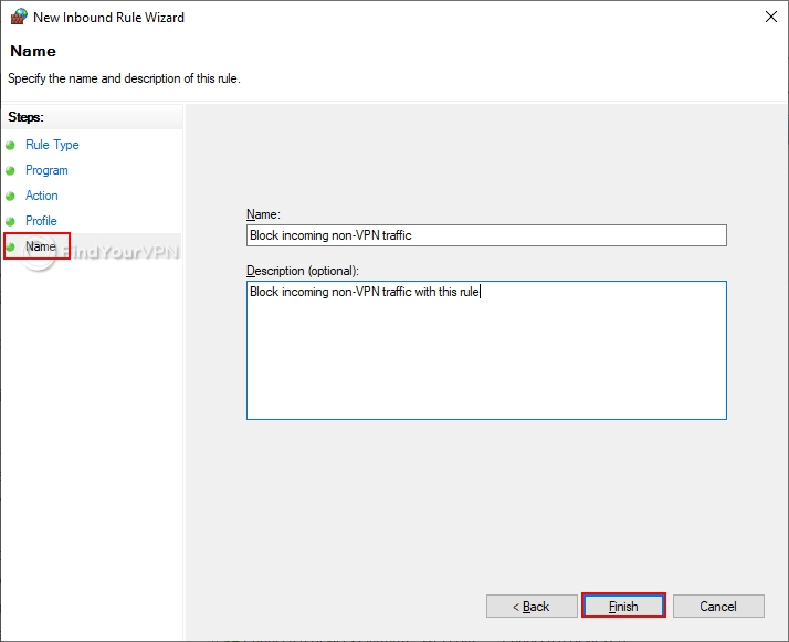 How to block non-VPN traffic in the Windows 10 Firewall (step 6)