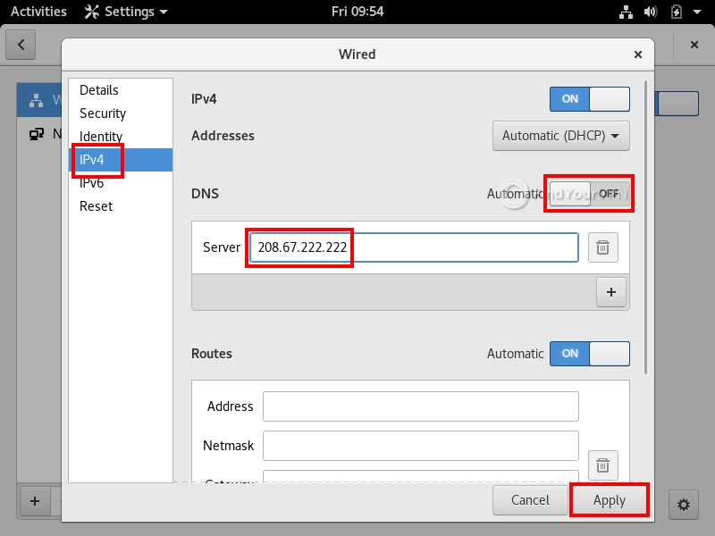 How to set DNS settings on Linux (step 3)