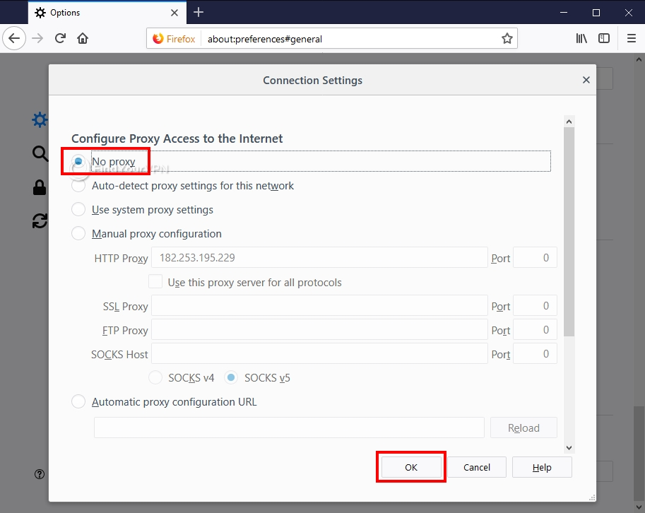 How to set proxy settings in Firefox (step 3)