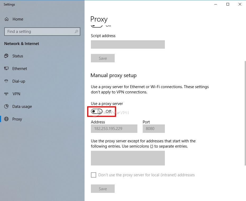 How to set proxy settings in Windows 10