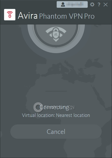 Avira Phantom VPN Interface Connecting