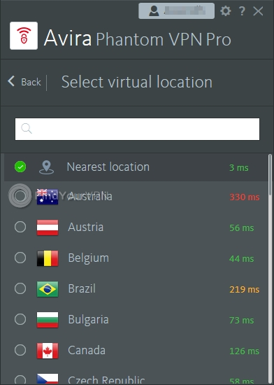 Avira Phantom VPN Servers List