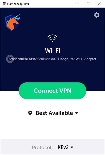 Namecheap VPN's Windows Interface