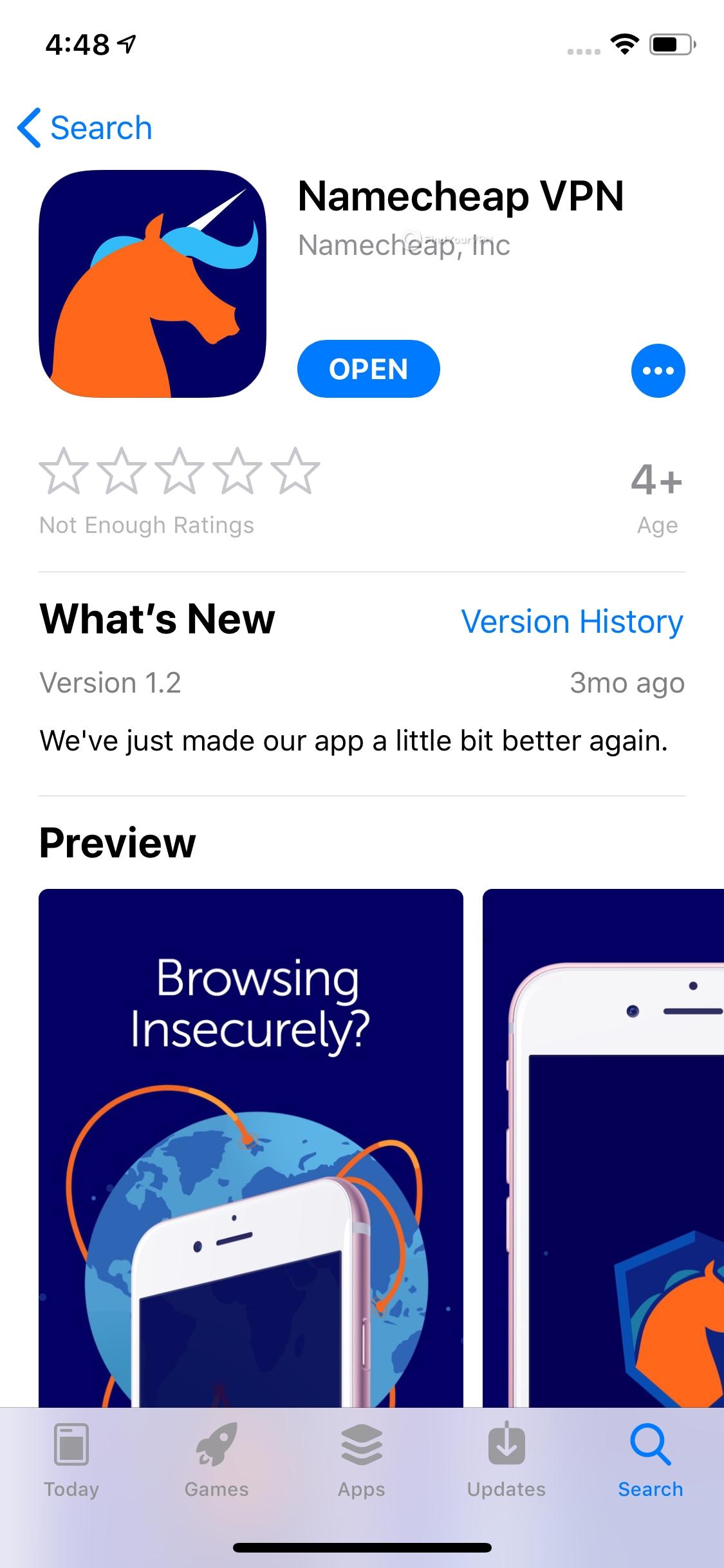 Namecheap iOS app installation