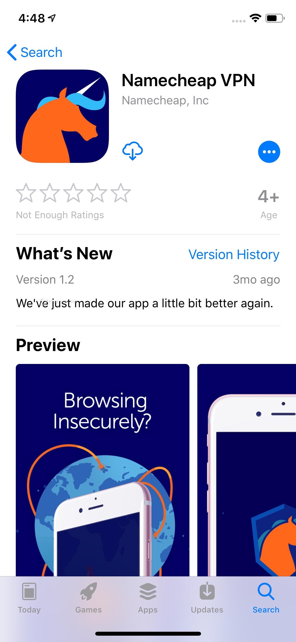 Namecheap iOS app after installation