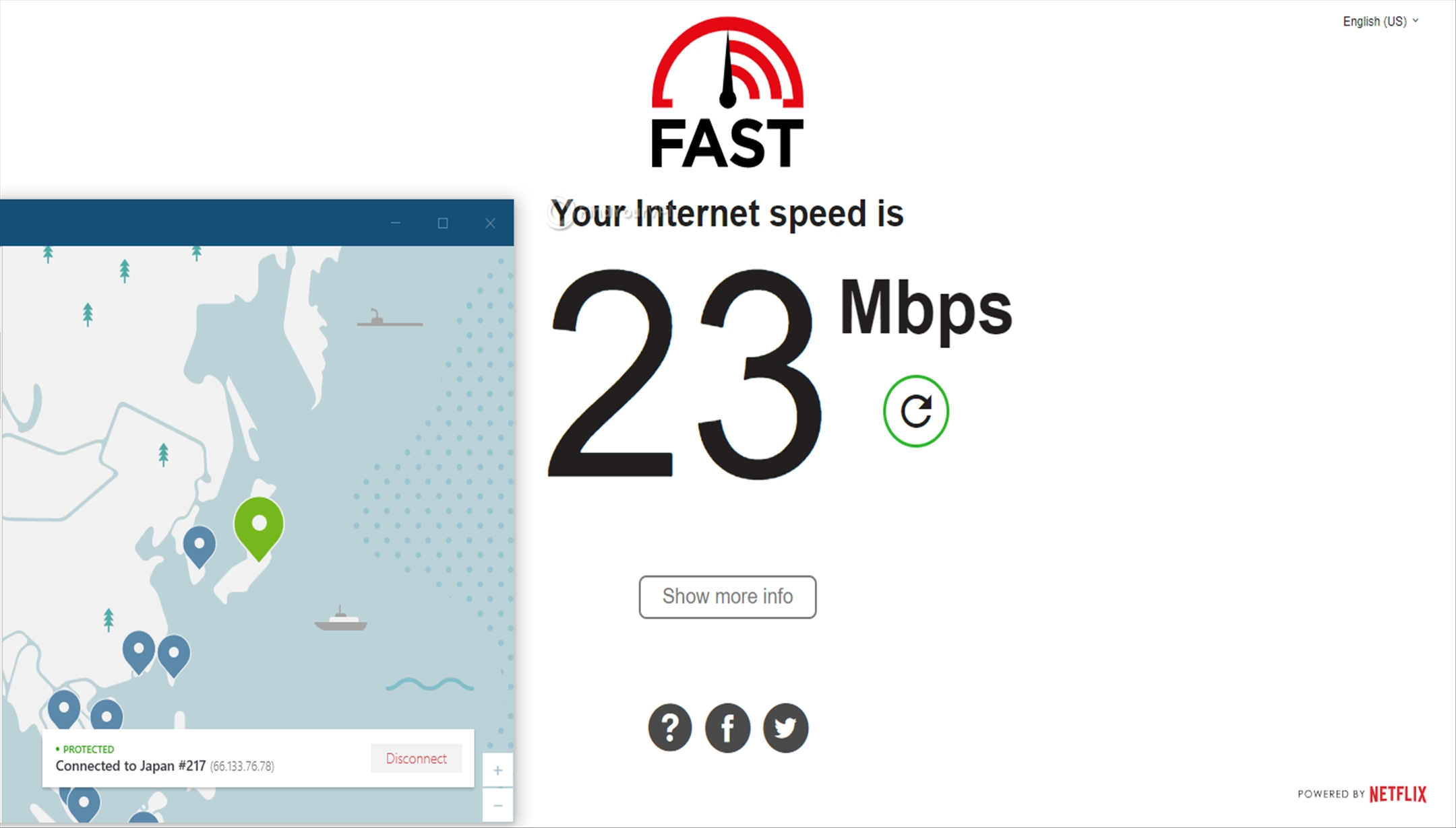 NordVPN Japan Speed Test 23Mbps
