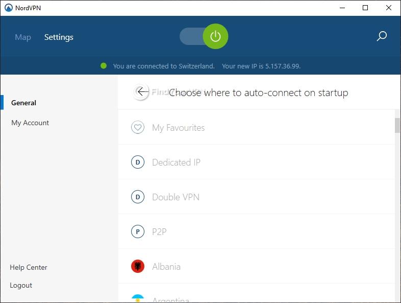 NordVPN Auto-connect settings