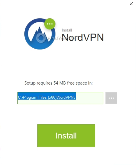 NordVPN's Setup window