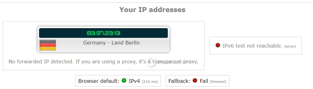 NordVPN ipleak IP Test no leaks