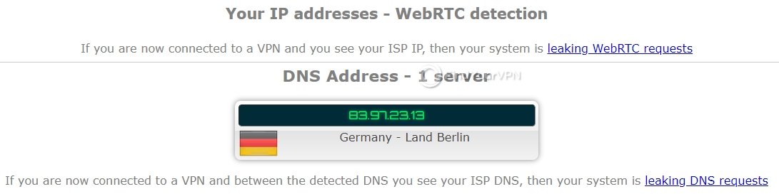 NordVPN ipleak DNS Test no leaks