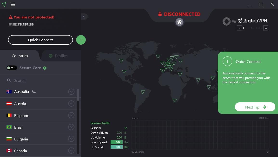 ProtonVPN Interface Guide