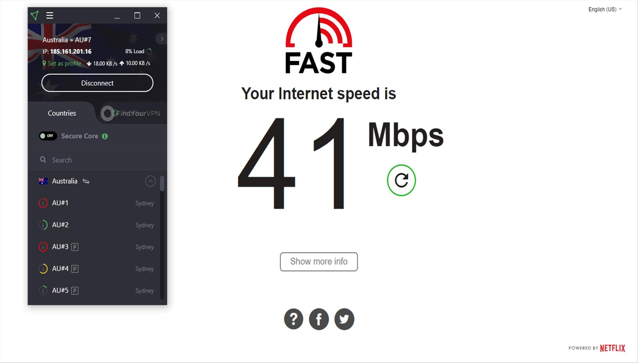 ProtonVPN Speed Test Australia 41 Mbps