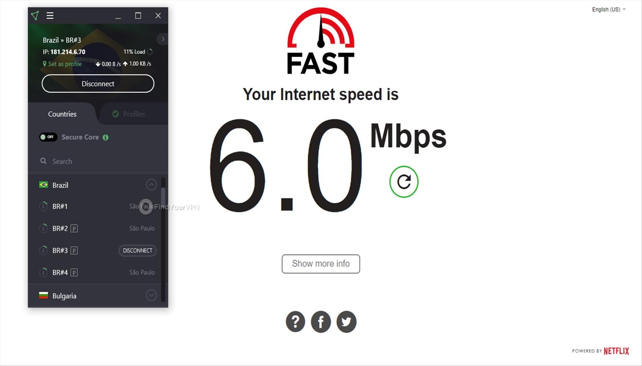 ProtonVPN Speed Test Brazil 6 Mbps