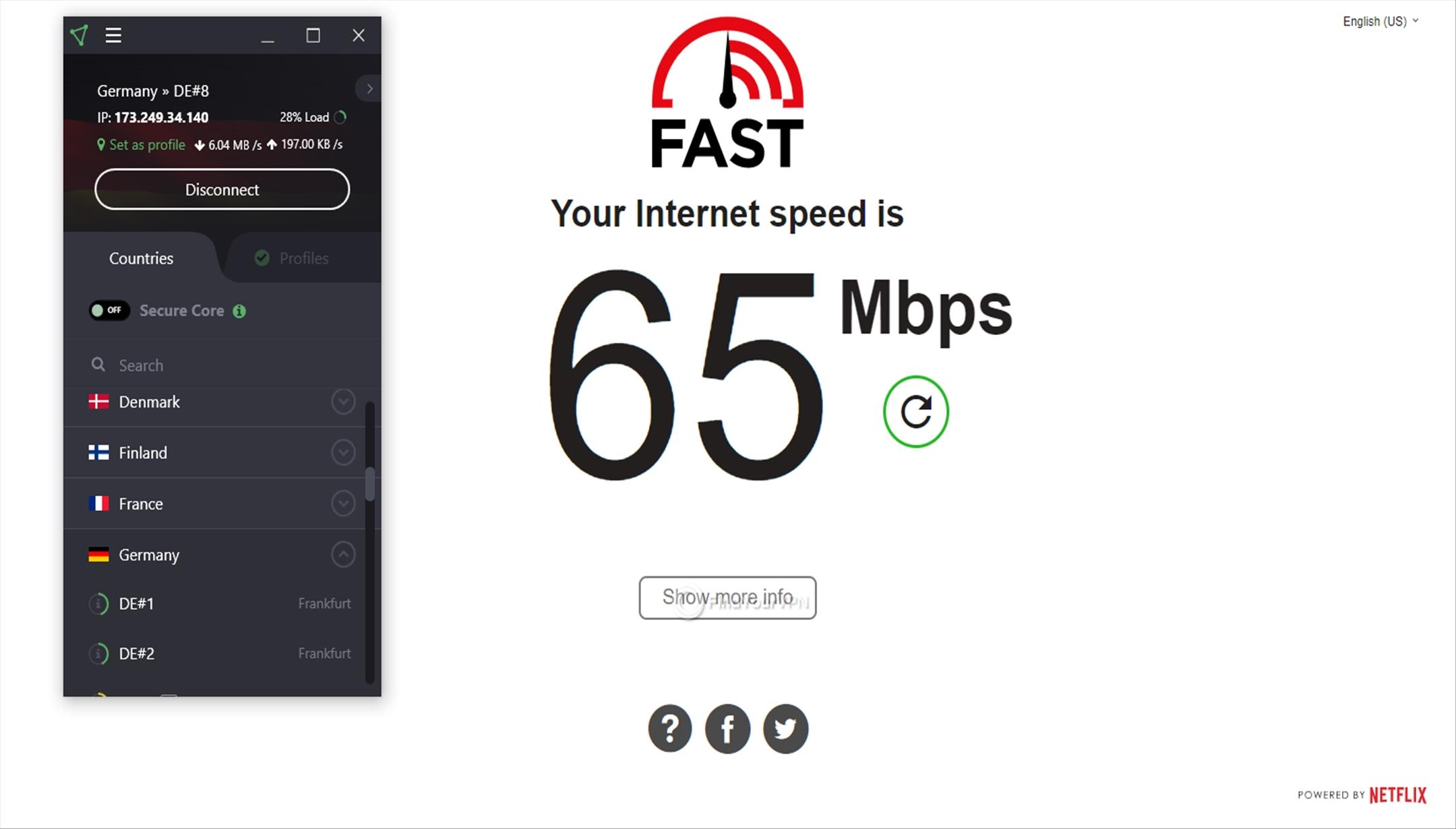 ProtonVPN Speed Test Germany 65 Mbps