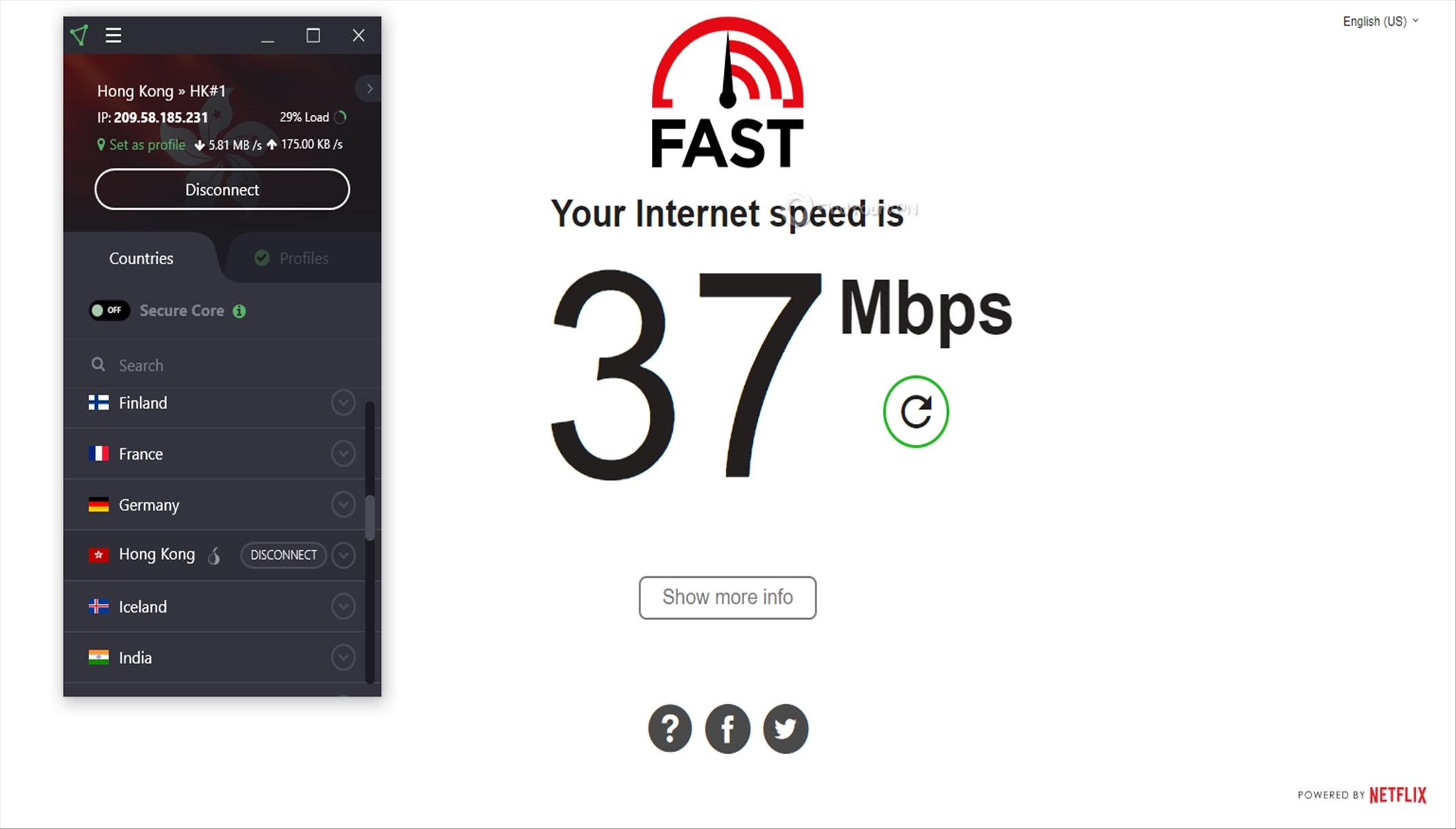 ProtonVPN Speed Test Hong Kong 37 Mbps