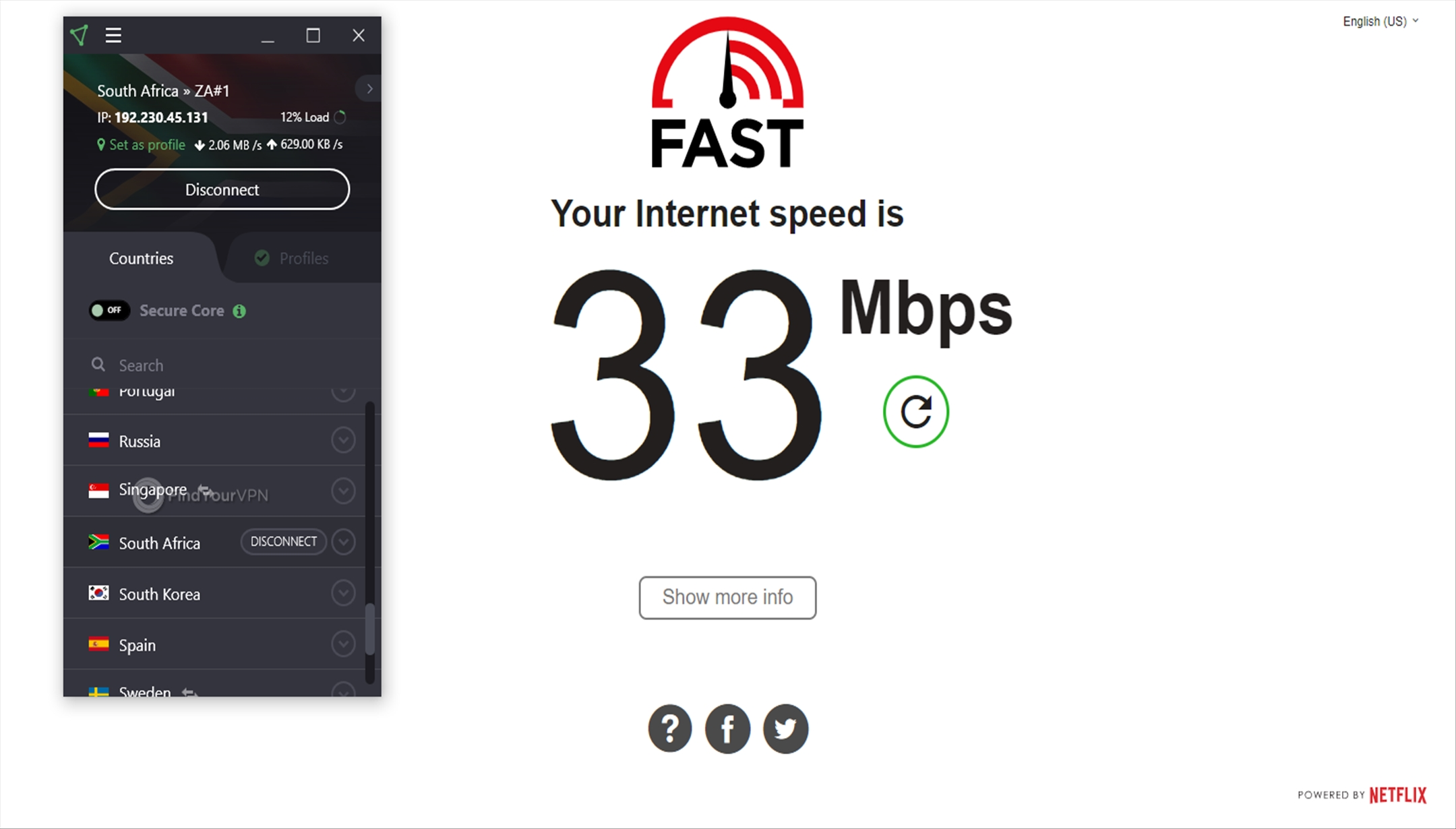 ProtonVPN Speed Test South Africa 33 Mbps