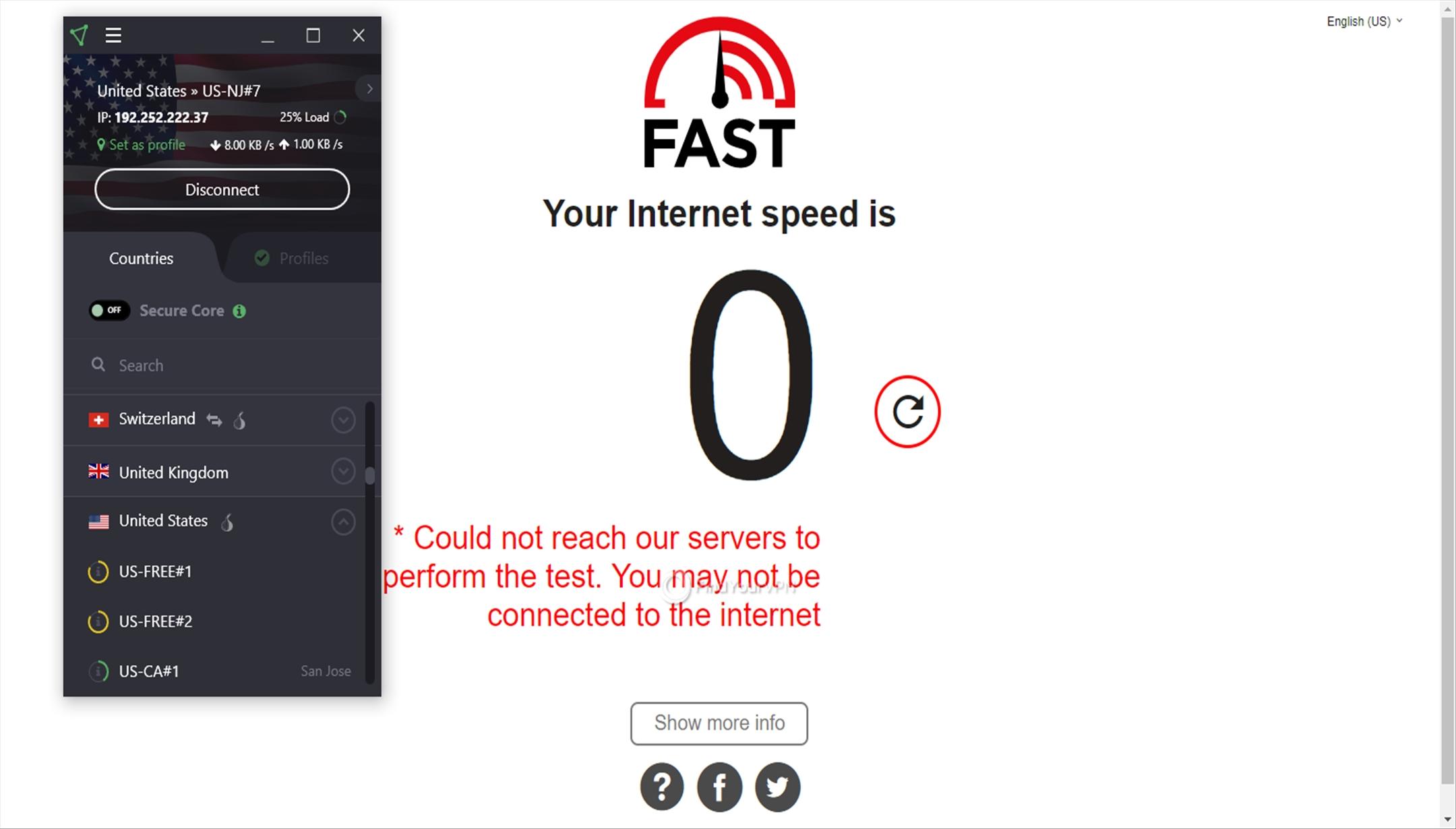 ProtonVPN Speed Test USA error