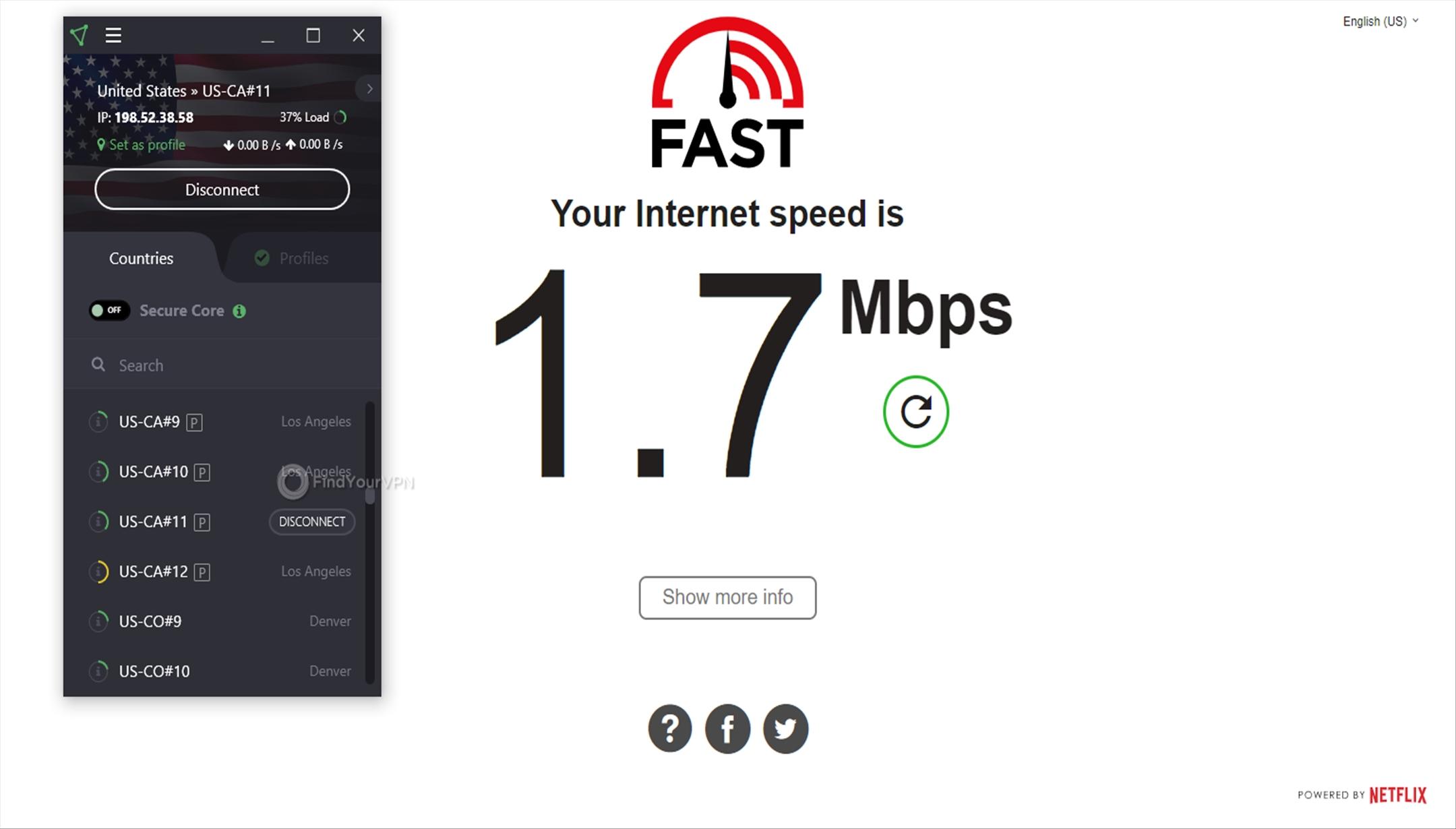 ProtonVPN Speed Test USA 1.7 Mbps