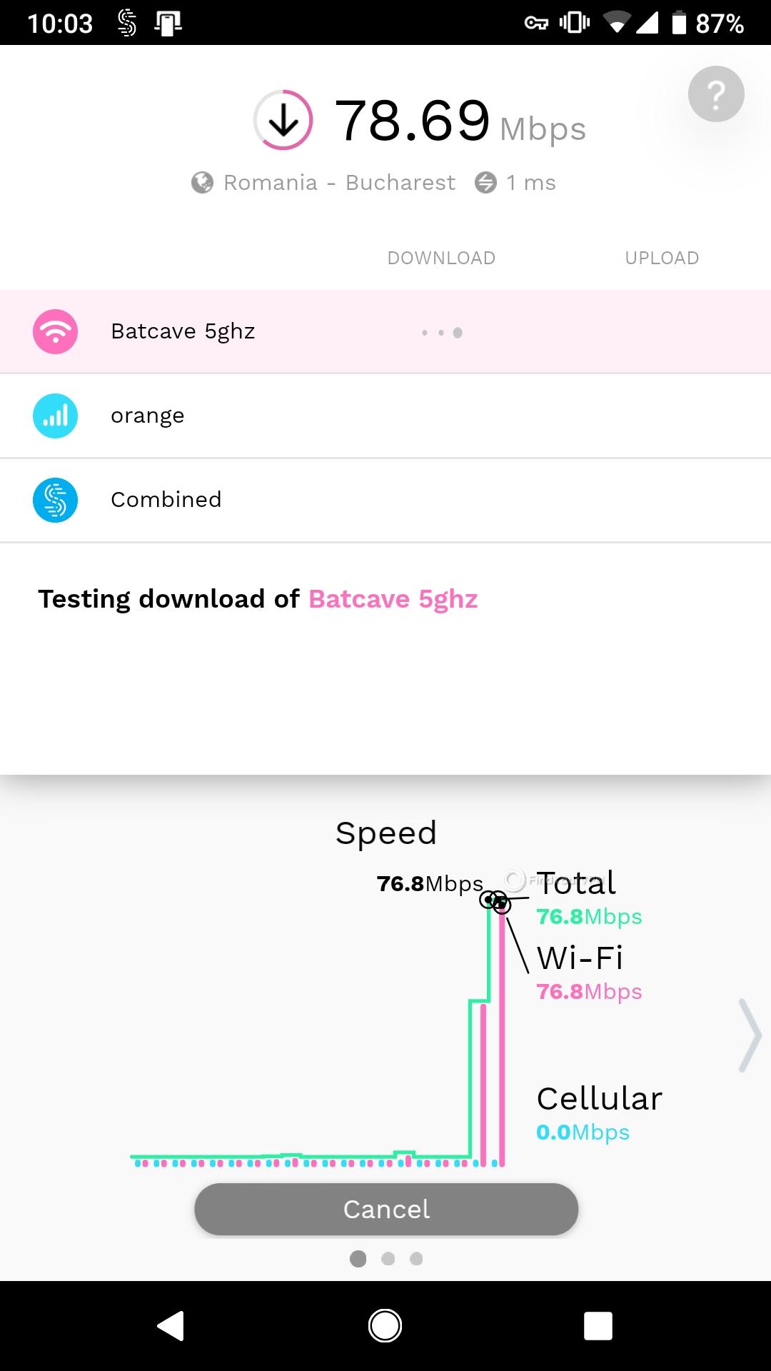 Speedify Android Interface Speed Test