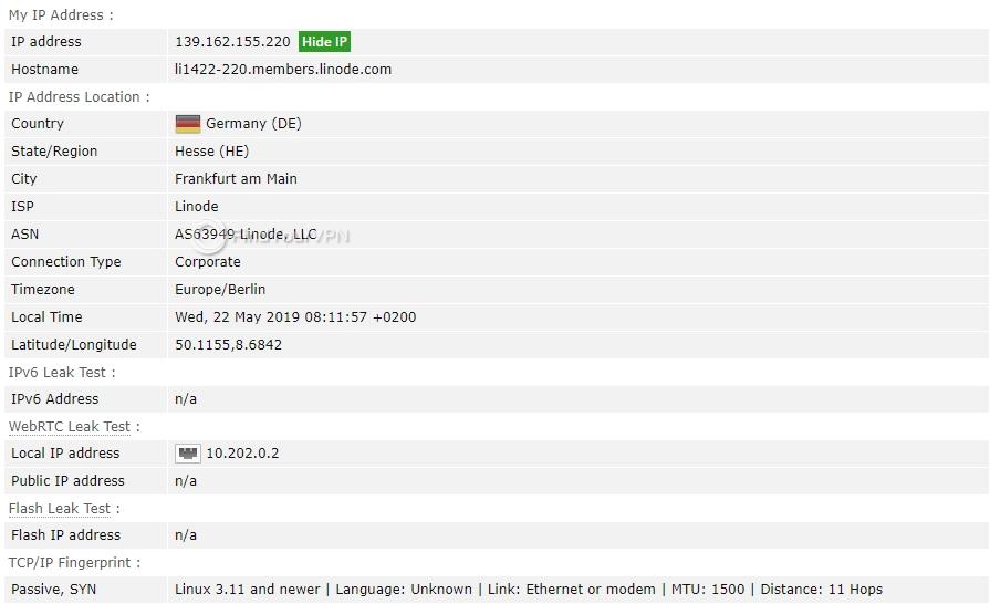 Speedify BrowserLeak IP test
