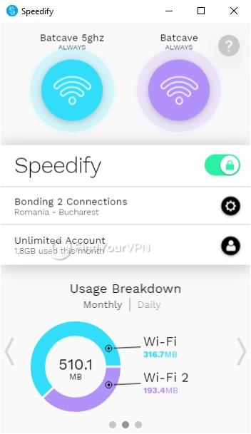 Speedify Interface Windows Usage