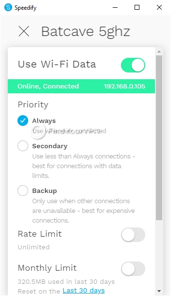 Speedify Interface Windows Wifi configuration