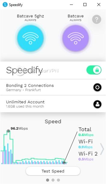Speedify Interface Windows Connected