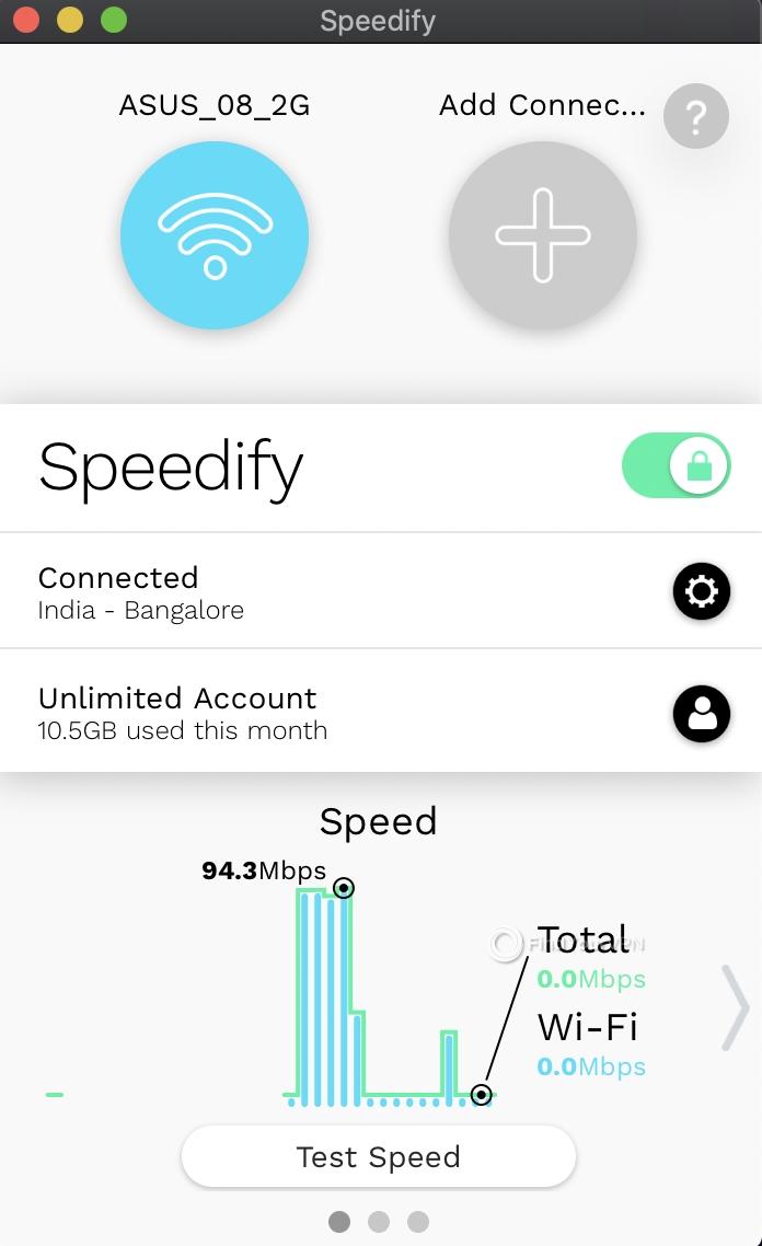Speedify Mac Interface connected
