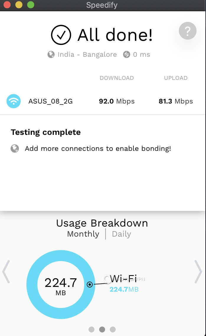 Speedify Mac Speed Test complete 2