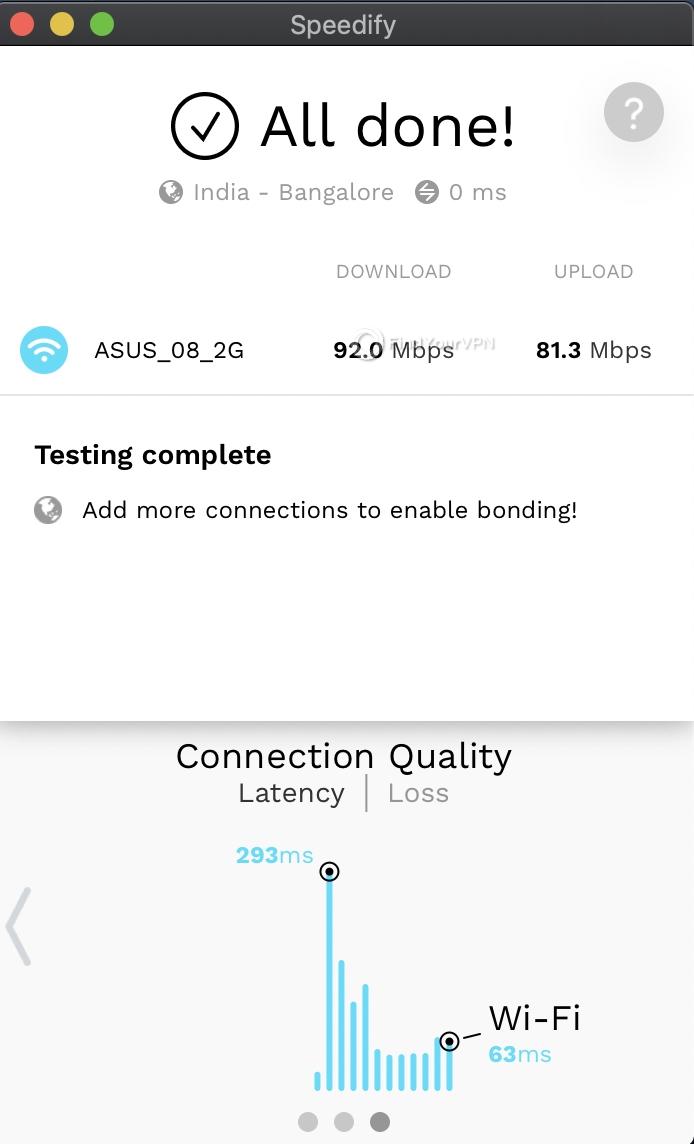 Speedify Mac Speed Test complete 3