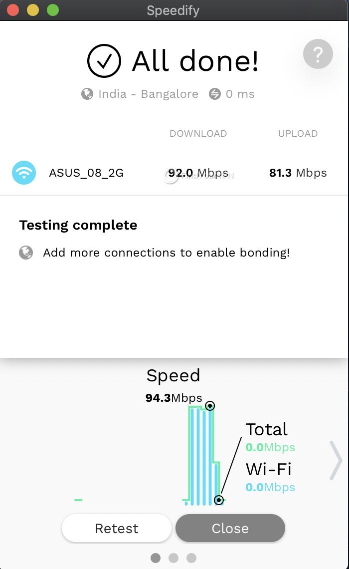 Speedify Mac Speed Test complete